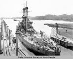 Atlantic Fleet in Panama Canal, U.S.S. North Dakota in Miraflores Lake.