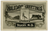 Holiday greeting postcard from Rugby, N.D.