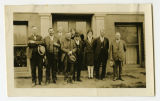 Pierce County commissioners and staff on west side of court house, Rugby, N.D.