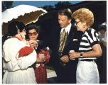 Governor George Sinner speaking with Corliss Mushik, Carol Siegart, and an unidentified woman,...