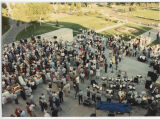View of crowd outside capitol during North Dakota Centennial event, Bismarck, N.D.