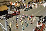 Clowns marching in Elks Parade, view from 500 block of Main Avenue, Bismarck, N.D.