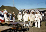 Men in Native American clothing at Garrison Dam closure ceremony