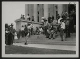 Terry Montana Cowboy Band performing on steps of Liberty Memorial Building, Bismarck, N.D.