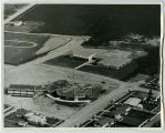 Aerial over school and church, Tioga, N.D.