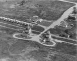Aerial over grain elevators, Grano, N.D.