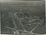 Aerial over school and churches, Flaxton, N.D.