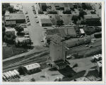 Aerial over Farmers Union elevator, Bottineau, N.D.