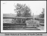 Guard rail construction on vehicle bridge, International Peace Garden, Man. and N.D.