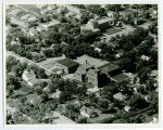 Aerial over school and Little Flower Catholic Church, Rugby, N.D.