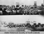 Band playing on street, Barlow, N.D.