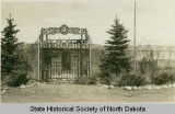 Theodore Roosevelt's cabin and gate on capitol grounds, Bismarck, N.D.
