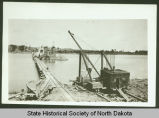Liberty Memorial Bridge pier construction, Bismarck, N.D.
