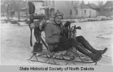 Man on propeller-powered sled, Bismarck, N.D.