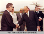 Governor William Guy greeting Olav V of Norway, Minot, N.D.