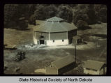 Sylvanus Marriage Octagonal barn, aerial view, New Rockford, N.D. vicinity