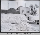 Snow banks on Main Street, Hague, N.D.