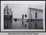 Red Horse Johnson's locker plant in flood water, Pembina, N.D.