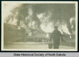 Garage fire at Civilian Conservation Corps camp 2772 near Watford City, N.D.