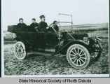 Peter, Betsy, Oscar, and Gunda Jorgenson in their new 1912 EMF Studebaker