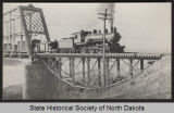 Old Northern Pacific train bridge and train, Bismarck, N.D.