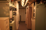 Curtained bunk and control panels at Oscar Zero missile alert facility near Cooperstown, N.D.