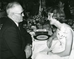 C. Norman Brunsdale and Audrey Hanssen at Search for American Homemaker of Tomorrow dinner, Buffalo,