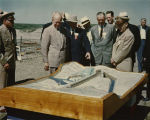 C. Norman Brunsdale and Dwight D. Eisenhower looking at model of Garrison Dam, Garrison, N.D.