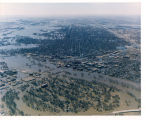 Aerial view of flooding in East Grand Forks, Minn., Grand Forks, N.D.