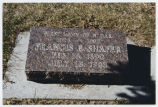 Francis E. Shafer cemetery marker, St. Mary's Cemetery, Bismarck, N.D.