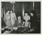 Petroleum Wives presenting item to Governor C. Norman Brunsdale