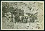 Civilian Conservation Corps members constructing a stone shelter, Theodore Roosevelt National Park, N.D.