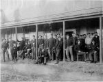 Soldiers of Company K, 15th Infantry in front of barracks, Fort Buford, Dakota Territory