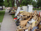 Debris streetside after flood, Fargo, N.D.