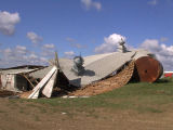Barn destroyed by wind, Medina, N.D.
