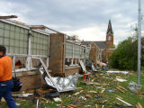 Damage to Northwood School after tornado, Northwood, N.D.