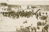 Crowd on street of Mott, N.D.