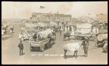 Decorated wagons and animals in the July 4th parade, New England, N.D.