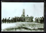 Native Americans in traditional dress at Four Bears Monument, Elbowoods, N.D.