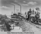 Northern Pacific Railroad train disembarking from ferry, Bismarck, N.D.