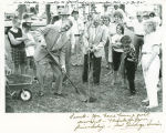 Governor George Sinner planting tree dedicated to Governor Arthur Link, Alexander, N.D.