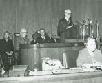 Frank A. Wenstrom speaking at Governor William L. Guy's inauguration, Bismarck, N.D.