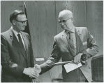 Governor William Guy presenting gavel to Constitutional Convention President Frank A. Wenstrom,...