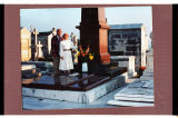 Harold and Sheila Schafer at de Mores family tombstone, Cimetiere du Grand Jas, Cannes, France