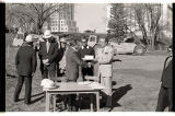 Arthur A. Link delivering construction contract for North Dakota Heritage Center, Bismarck, N.D.