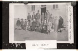 Schoolchildren in front of school near post office, Kennedy, N.D.