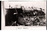 Train wreck that destroyed depot platform, McKenzie, N.D.
