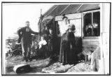Otto Schade and family with sod house on homestead, Bowman County, N.D.