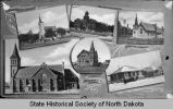 Composite photograph of churches and library, Mandan, N.D.