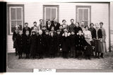 Floyd Henderson and students of Melby School, 6 miles southeast of Dunn Center, N.D.